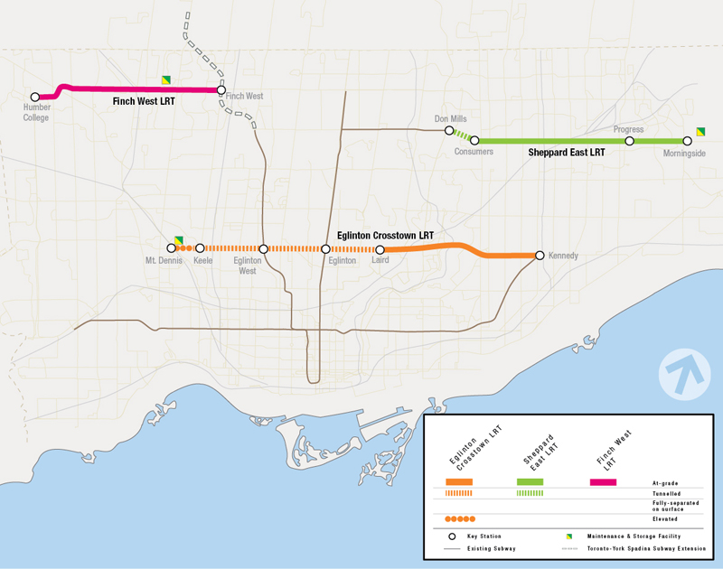 Toronto Subway Map With Streets.Metrolinx Toronto Light Rail Transit Projects