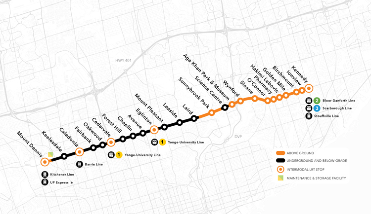 Eglinton Crosstown Map Metrolinx: For a Greater Region   Eglinton Crosstown LRT