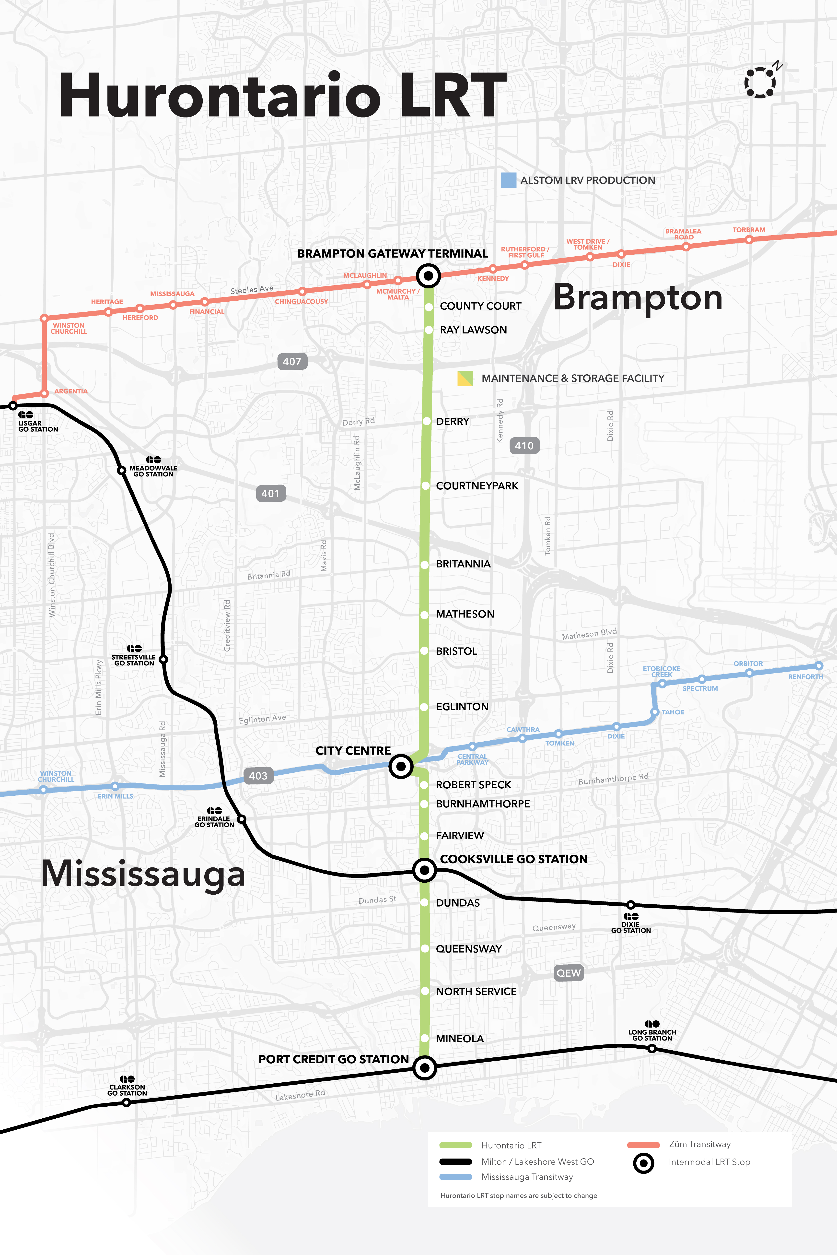 Project Management Subway Map.Metrolinx For A Greater Region Hurontario Lrt